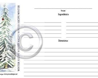 Winter Recipe Cards