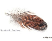 WOODCOCK - FEATHER PRINT - Father's Day Gift -  Handmade by Will Kay Studios on Etsy