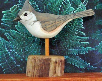 Wood Carved Songbird - Tufted Titmouse - Hand Carved - Hand Painted - Woodland - Wildlife Art - by Will Kay Studios