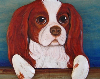 CUSTOM PET PORTRAIT - Hand Carved and Hand Painted -  King Charles Cavalier Spaniel named Bandit by Will Kay Studios