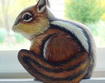 CHIPMUNK - Hand Carved - Hand Painted - WILDLIFE Art - Door Topper or Window Sill Sitter - Woodland Animal - by Will Kay Studios on Etsy