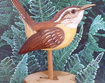 CAROLINA WREN -  Songbird - Wooden Bird - Hand Carved - Hand Painted - Birder's Gift - by Will Kay Studios on Etsy