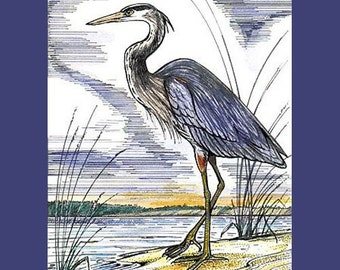 GREAT BLUE HERON- Handmade Print - Birders Gift - Nature Print - Pen Ink - Watercolor by Will Kay Studios on Etsy