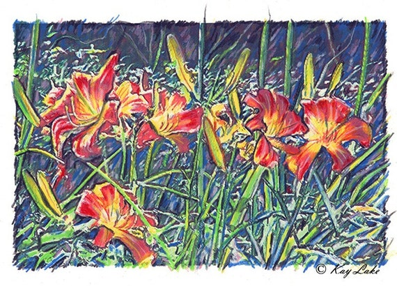 Tiger Lily FLOWERS - A Jungle of Plants - HANDMADE - PRINT - by Will Kay Studios on Etsy