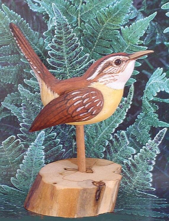CAROLINA WREN -  Songbird - Wooden Bird - Hand Carved - Hand Painted - Birder's Gift - by Will Kay Studios on Etsy