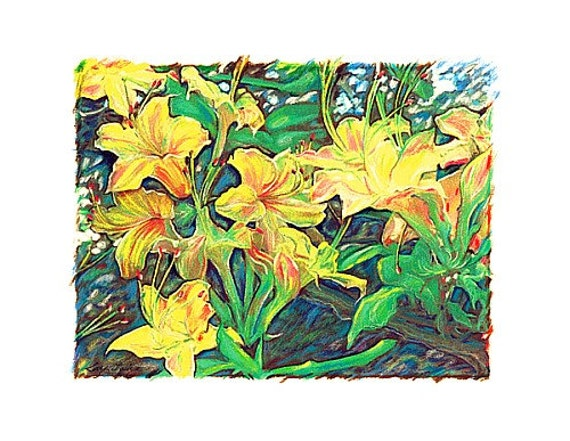 Lilies - Yellow Day Lilies Print - Prisma Pencils - Watercolor by Will Kay Studios on Etsy