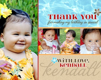 Luau Thank You Card - Beach (Printable Digital File)