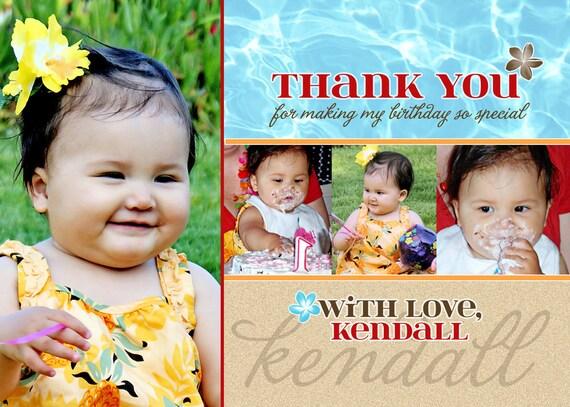 Luau Thank You Card - Beach (Printable Digital File)
