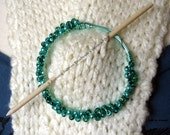 Shawl Pin, Cowl pin, Aqua Czech glass beads, Hand wrapped Wire