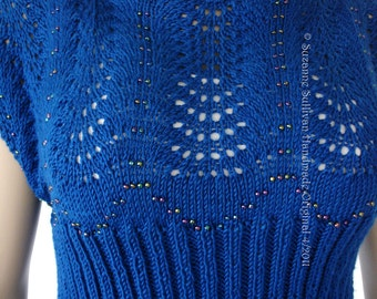 Beaded Lace Cropped Sweater, Summer Crop Top, Knitted Lace Pullover Sweater,  Royal Blue, Beaded Sweater, Womans Cropped Sweater,