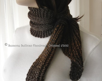 Hidden Loop scarf, Knitted Bow Scarf, Womens Ascot Scarf