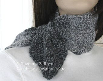 Ascot Scarf for women,Hidden Loop Scarf, Soft, Gray tweed Womans Ascot Scarf