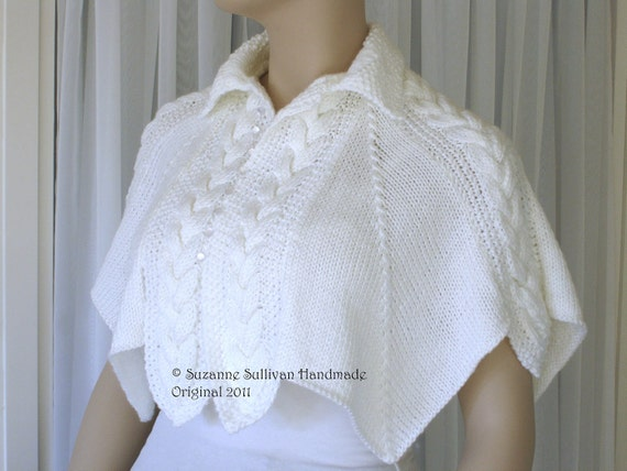 Knitted Cape, Capelet, White, Pearlized buttons