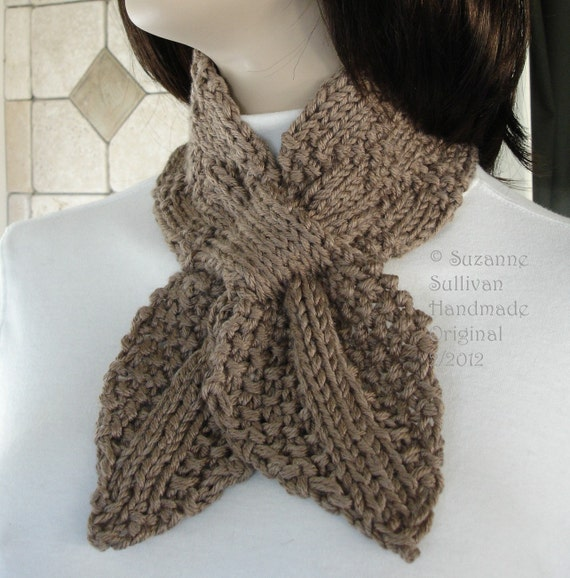 Taupe brown Bow Tie Scarf, Ascot