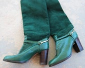 vintage 70s Boots Forest Green Suede Equestrian Riding Sz 5