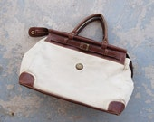 vintage 80s Duffle Bag - Large Canvas Safari Weekend Duffel Bag