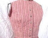 SALE vintage 50s Dress - Rose Floral Calico Quilted Dress Sz S