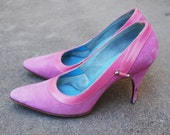 CLEARANCE SALE vintage 50s High Heels - 1950s Hot Pink Leather and Suede Shoes Sz 6 6.5
