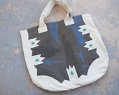 Southwestern Leather Tote - Navajo Inspired Grey and White Beaded Bag - Modern Pocahontas Collection