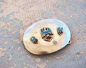 vintage Native American Belt Buckle - Thunderbird Eagle Turquoise and Coral Belt Buckle