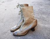 vintage Victorian Ankle Boots - Antique Beige Leather Granny Lace up Boots Unworn Sz 7.5 38
