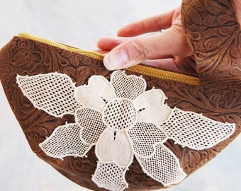Leather Wristlet - Rustic Tooled Leather and Lace - Limited Edition