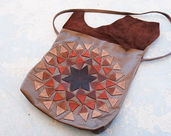 Geometric Leather Purse - Brown Starburst - Modern Pocahontas Collection