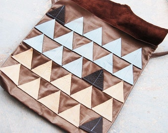 Geometric Leather Purse - Blue and Beige Triangles  - Modern Pocahontas Collection