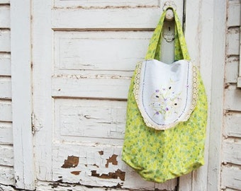 Oversized Tote Bag - Lime Green Floral - Reclaimed Vintage Textiles