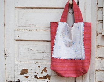 Oversized Tote - Pink Stripe Bag - Reclaimed Vintage Textiles