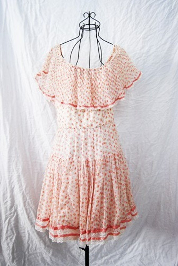 vintage 60s Ruffled Romantic Floral Calico Babydoll Dress Sz M
