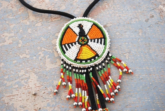 vintage Bolo Tie or Necklace - Native American Beaded Thunderbird Eagle