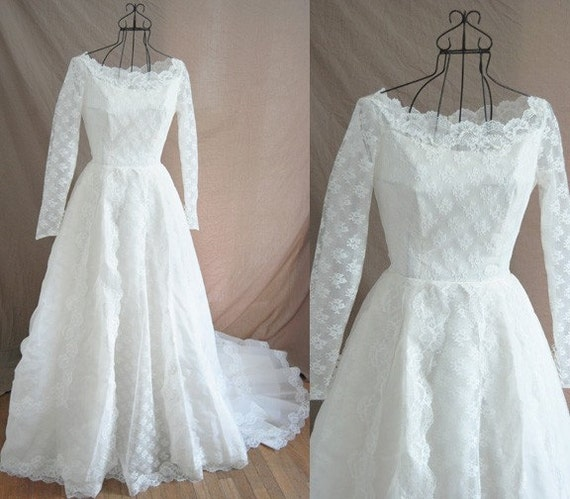 Vintage 50s Wedding Dress Alfred Angelo Couture Ivory Lace