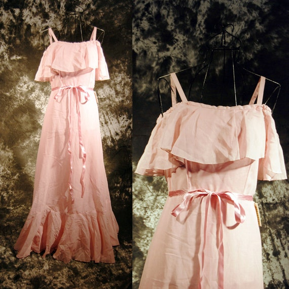 Vintage 70s Prom Dress Ruffled Princess Pink Formal Maxi