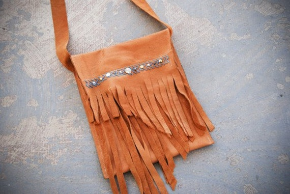 Leather Fringe Purse - Yellow Abstract Fringe Foldover Bag - Modern Pocahontas Collection