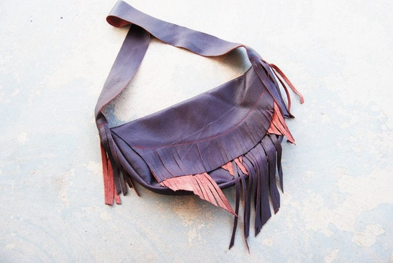 Tribal Leather Purse - Large Shoulder Bag in Purple  - Modern Pocahontas Collection
