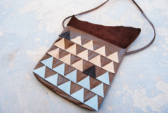 Leather Purse - Geometric Beige and Blue Triangles - Modern Pocahontas Collection