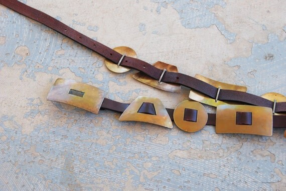 vintage Avant Garde Belt - 80s Metal Belt - Geometric Bronze Tribal Leather Belt Sz M L XL