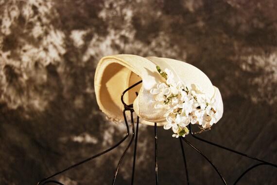 vintage 30s Wedding Hat - Ivory Bridal Topper Hat