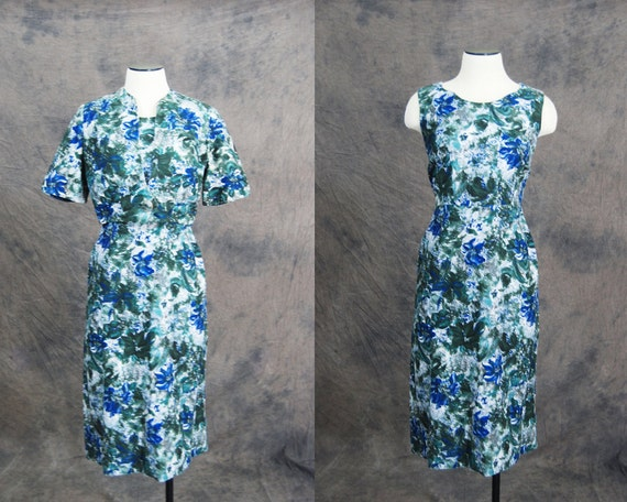 50s Dress and Jacket - Blue Floral Wiggle Dress and Bolero Jacket Set Sz S