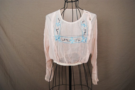 vintage Sheer Blouse - Edwardian Embroidered Blouse - Pink Silk Chiffon Blouse Sz S