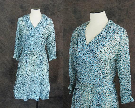vintage 40s Dress - Sheer Blue Cloud Floral Double Breasted Dress Sz M