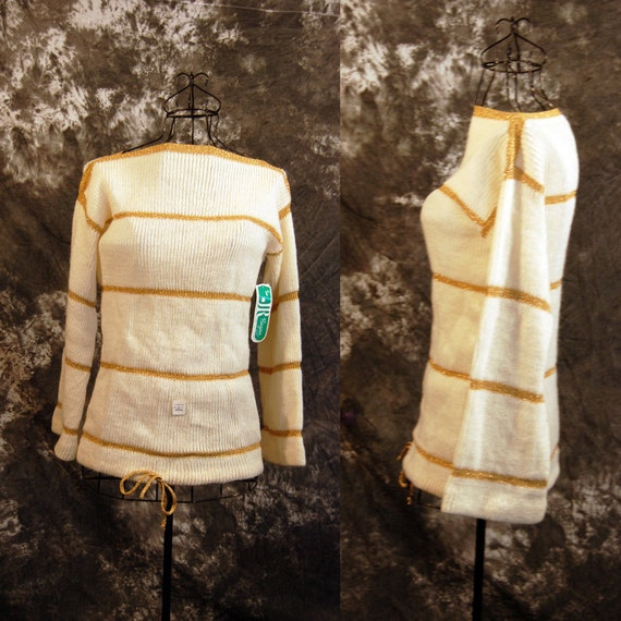 vintage 70s Sweater - Bell Sleeve Sweater - Ivory and Gold Stripe Sweater Sz S