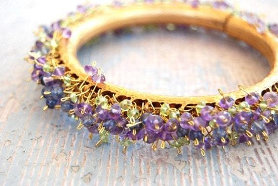 Gemstone Bracelet - Peridot, Amethyst and Iolite Bangle Bracelet -  Bohemian Dance Collection