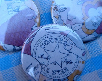Converse and Faces pin back button set