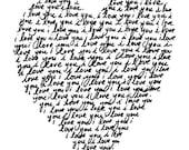 I LOVE YOU - 8x10 inch on A4 - Print (in Black)