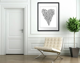 Je Taime - 16x20 on A2 French Typography Art Poster (in White and Black)