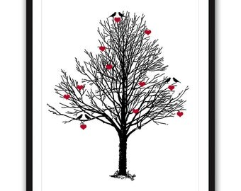 The Love Tree - 16x20 inch on A2 - Poster (in Black, Red and White)