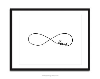 Endless Love - 16x20 inch Poster on A2, Infinity (in Crisp White and Black)