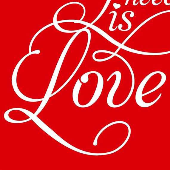 8x10 ALL YOU NEED IS LOVE print in Lipstick Red